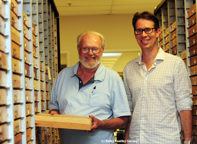 Robbin Thorp (left) of UC Davis and John Ascher of the National University of Singapore are two of The Bee Course instructors. (Photo by Kathy Keatley Garvey)