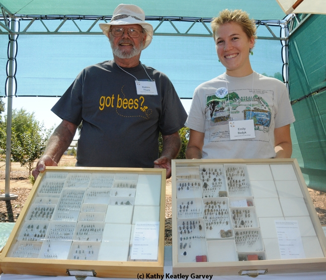 Robbin Thorp at a UC Davis function with Emily Bzdyk,  who received her master's degree in entomology from UC Davis and is a graduate of The Bee Course. (Photo by Kathy Keatley Garvey)
