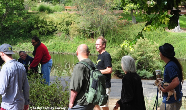 Tour guide Steve Daubert (center, in black t-shirt) talks butterflies. (Photo by Kathy Keatley Garvey)