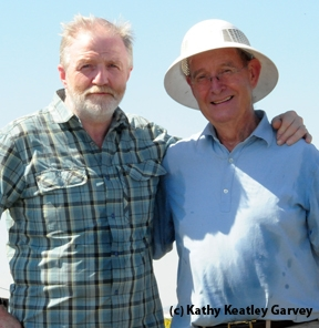 Zoologist/documentary host George McGavin (left) and emeritus entomology professor Norm Gary. (Photo by Kathy Keatley Garvey)