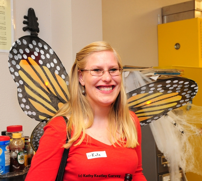 Kate Brown, a third-year UC Davis School of Medicine students, with her Monarch wings. (Photo by Kathy Keatley Garvey)
