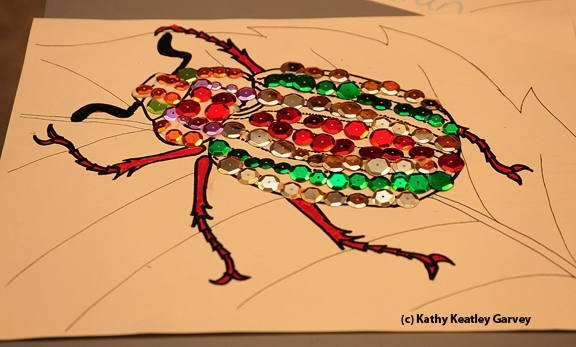 A jeweled beetle, part of the arts and crafts activity. (Photo by Kathy Keatley Garvey)