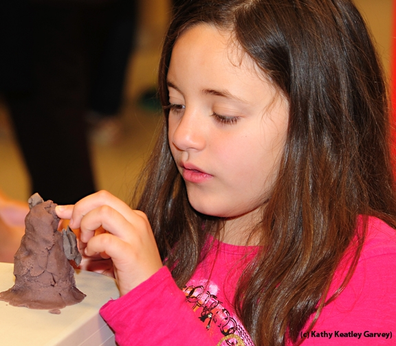 Ally Estrada, 10, of Vacaville, works with clay.  (Photo by Kathy Keatley Garvey)