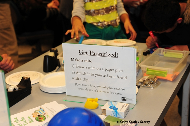 Get parasitized! The sign at the Bohart Museum says it all. (Photo by Kathy Keatley Garvey)