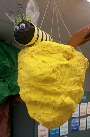 A bee and a hive, the work of Beth Bartkowski's students. (Photo by Beth Bartkowski)