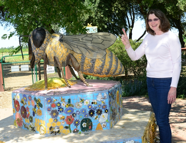 That's one pollinator! Barbara Allen-Diaz, vice president of UC ANR, holds up a finger designating one pollinator. This is Donna Billick's bee sculpture in the Haagen-Dazs Honey Bee Haven. It was funded by Wells Fargo. (Photo by Kathy Keatley Garvey)