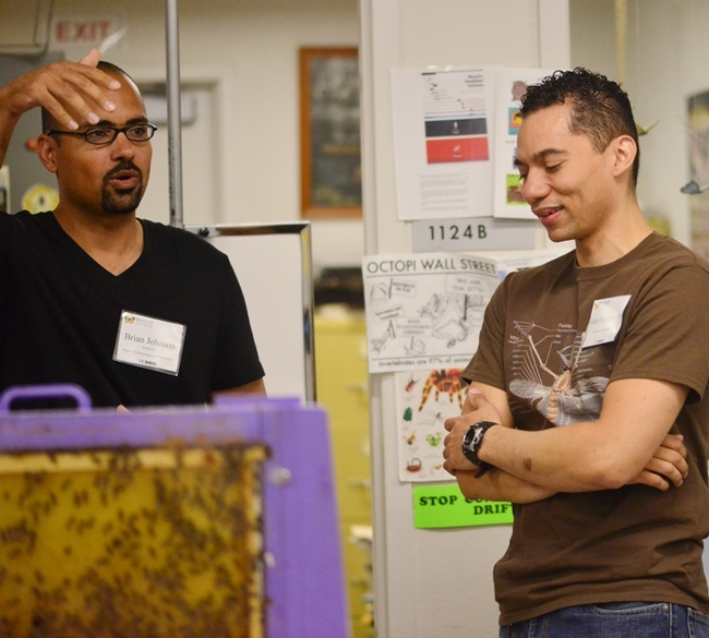 UC Davis entomology graduate student Ralph Washington (right) chats with UC Davis assistant professor/bee biologist Brian Johnson at the Bohart Museum open house on Sept. 27. (Photo by Kathy Keatley Garvey)