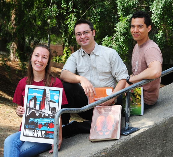 The championship Linnaean Team, Pacific Branch of the Entomological Society of America: (from left) Jéssica Gillung, Brendon Boudinot, and Ralph Washington Jr. (Photo by Kathy Keatley Garvey)