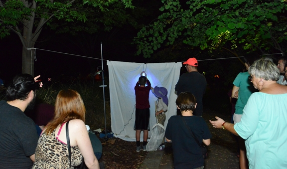The Moth Night crowd at the Bohart Museum of Entomology awaiting moths. (Photo by Kathy Keatley Garvey)