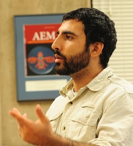 Mohammad-Amir Aghaee, recipient of John Henry Comstock Award, PBESA. (Photo by Kathy Keatley Garvey)