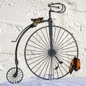 Tiny and Tim on a replica of a penny-farthing. (Photo by Kathy Keatley Garvey)