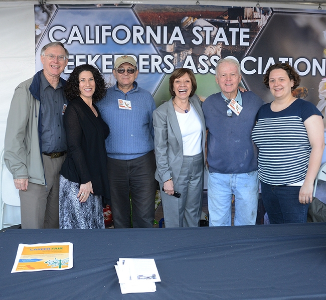 Point players in the bee industry gather for a photo. From left are Extension apiculturist Eric Mussen, CSBA lobbyist Holly Fraumeni, Carlin Jupe of the CSBA; Secretary of Agriculture Karen Ross, Bill Cervenka of the CSBA and Extension apiculturist Elina Niño. (Photo by Kathy Keatley Garvey)