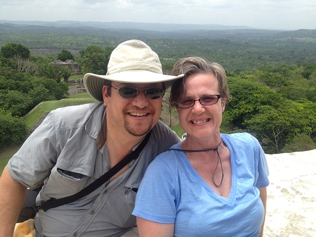 Entomologists David Wyatt and Fran Keller pose for a photo in Belize.