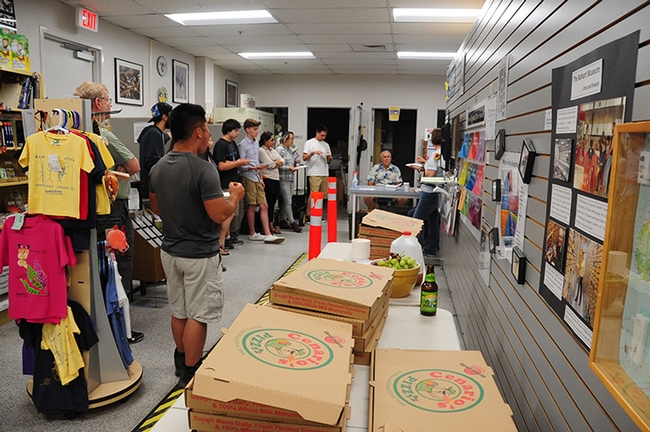 Those who will join the June 20-July 1 collecting trip to Belize gathered for a pre-trip meeting and pizza party on June 1 in the Bohart Museum. (Photo by Kathy Keatley Garvey)