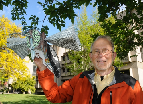RETIRED ENTOMOLOGIST Jeffrey Granett (shown in front of Briggs Hall at UC Davis) now spends much of his time creating art. This is part of his hanging art,