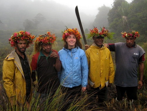 ANDREA LUCKY  (center) in New Guinea in September 2009 with her field team, on a Conservation International Rapid Assessment Project (RAP). She'll discuss her work at her May 12 presentation in 122 Briggs Hall, UC Davis. The lecture is from 12:10 to 1 p.m. and will be webcast.