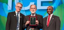 Nobel Laureate Peter Agre (center), a keynote speaker at ICE 2016, is flanked by the ICE 2016 co-chairs,  Walter Leal (left) of UC Davis, and Alvin Simmons of the USDA/ARS, based in Charleston, S.C. for Bug Squad Blog