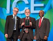 Nobel Laureate Peter Agre (center), a keynote speaker at ICE 2016, is flanked by the ICE 2016 co-chairs,  Walter Leal (left) of UC Davis, and Alvin Simmons of the USDA/ARS, based in Charleston, S.C.