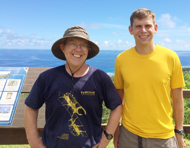 Researchers Hugh Dingle (left) UC Davis emeritus professor of entomology, and Mikah Freedman, UC Davis graduate student, in Guam in 2015