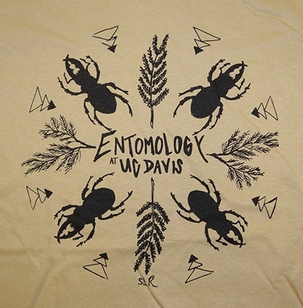 This is Stacey Rice's design of stag beetles. The T-shirt is the winner of the Entomology Graduate Students' Association's 2016 t-shirt contest.