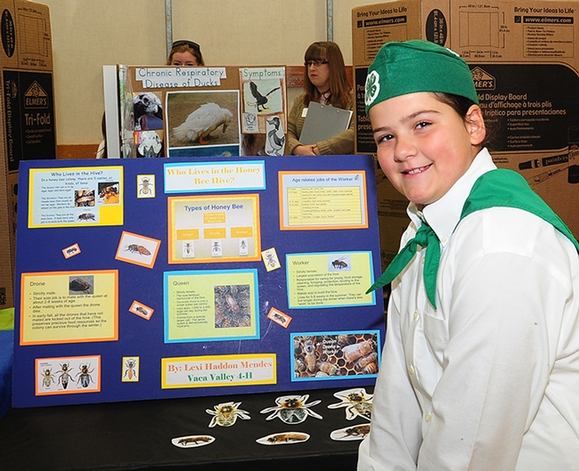 Lexi Haddon Mendes, next to her display board. (Photo by Kathy Keatley Garvey)