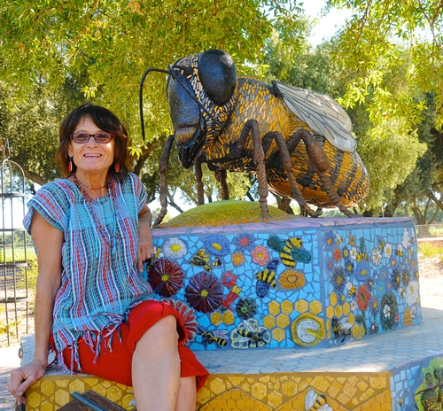 SELF-DESCRIBED rock artist Donna Billick with her sculpture,