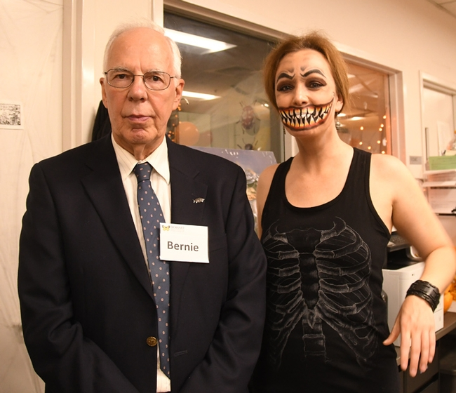 Bohart Museum research entomologist Tom Zavortink portrayed Bernie Sanders, and UC Davis alumnus Danielle Wishon, a shark. (Photo by Kathy Keatley Garvey)