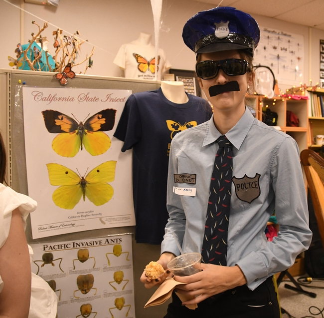 Student Keely Davies, a member of the UC Davis Entomology Club, was all law 'n order. (Photo by Kathy Keatley Garvey)
