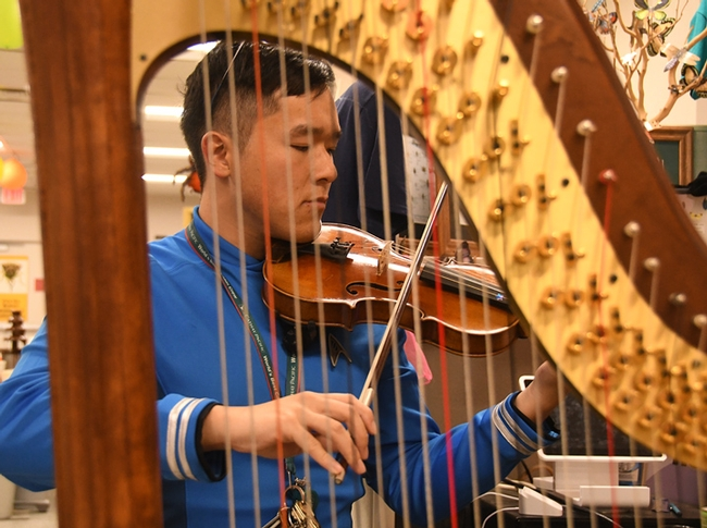 Framed by a harp, Andre Poon softly played the violin. (Photo by Kathy Keatley Garvey)