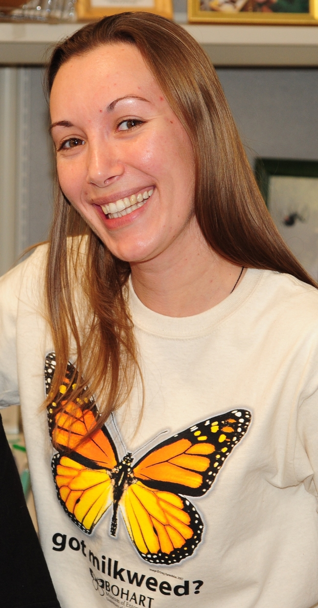 Jessica Gillung, PhD student, will take about members of the family Acroceridae, endoparasitoids of spiders. (Photo by Kathy Keatley Garvey)