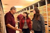 Bohart associate and butterfly expert Greg Kareofelas talks to Sacramento residents Amii Barnhard-Bahn and her daughter, Larkin, 15. (Photo by Kathy Keatley Garvey)