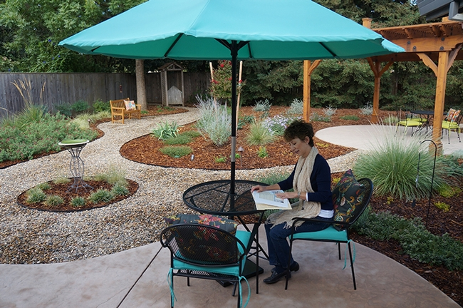 Plant and insect enthusiast Ria de Grassi of Davis, a UC Davis alumna, reads in her newly landscaped backyard, a