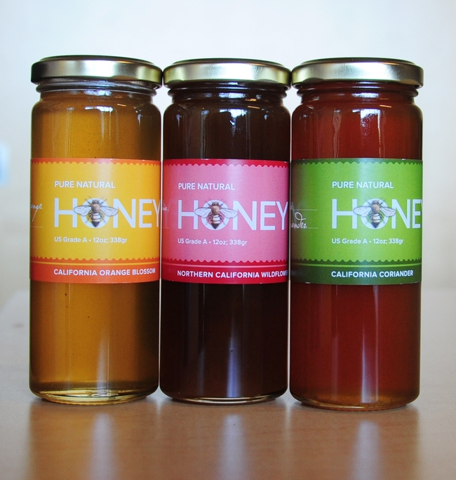 You can buy honey for your honey or for yourself from the UC Davis Honey and Pollination Center. Pictured are  orange blossom honey, wildflower honey and corinader (cilantro) honey. (Photo by Kathy Keatley Garvey)