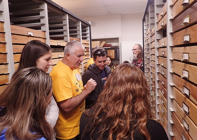 Entomologist Jeff Smith, who curates the butterfly/moth collection at the Bohart, eagerly talks about the collection. (Photo by Kathy Keatley Garvey)