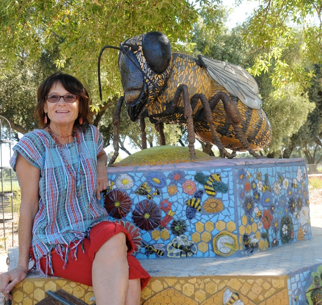 Artist Donna Billick, who created the ceramic-mosaic sculpture,