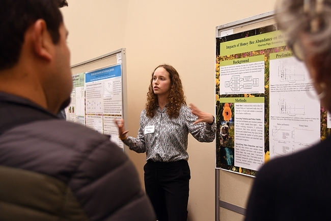UC Davis doctoral student Maureen Page tells judges that honey bees may have negative impacts on native bees and native plant communities in certain contexts. (Photo by Kathy Keatley Garvey)