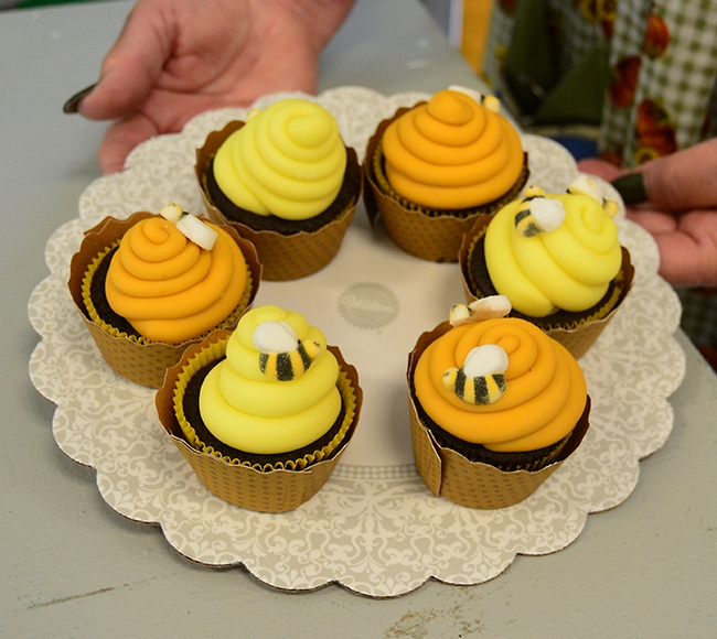 Khole Cahoon, 13, of Vacaville won a blue ribbon for her chocolate ganache cupcakes, decorated with bees. (Photo by Kathy Keatley Garvey)