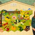 Sarah Dalrymple, then a doctoral candidate at UC Davis, coordinated the bee mural  in the Häagen-Dazs Honey Bee Haven. (Photo by Kathy Keatley Garvey)
