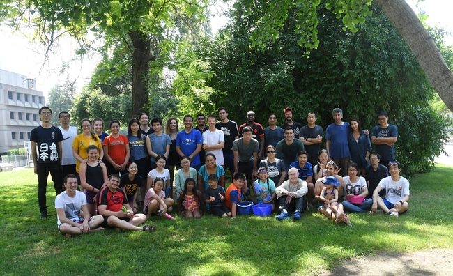 The water warriors pose for a group photo, marking the finish of the 15th annual Bruce Hammock Lab Water Balloon Battle. (Photo by Kathy Keatley Garvey)