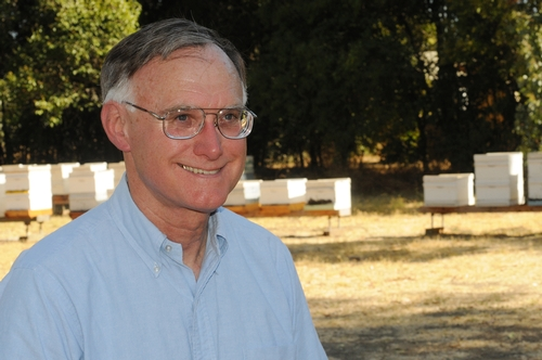 HONEY BEE GURU Eric Mussen at the Harry H. Laidlaw Jr. Honey Bee Research Facility, University of California, Davis. (Photo by Kathy Keatley Garvey)