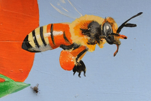 FLY BY--A fly (bottom left) lands next to a colorfully painted honey bee at the Haagen-Dazs Honey Bee Haven at UC Davis. This is a close-up of the bee box (fourth from bottom) above.  (Photo by Kathy Keatley Garvey)
