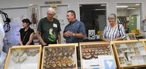Retired entomologist and UC Davis alumnus Norm Smith (second from left) talks to visitors at the Bohart Museum of Entomology's