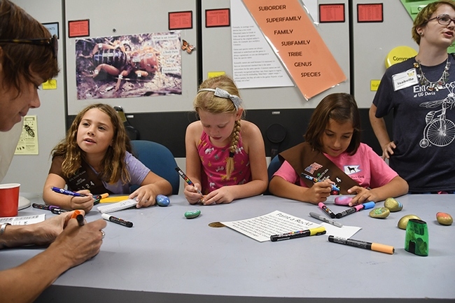 Members of Brownie Troop 3124 of Sacramento participated in the rock painting. In the foreground is leader Suzanne Enslow. The Brownies (from left) are Antonia Fedele-Mcleod, Adair Enslow,  and Amelia Pacheco, all seven years old. At right is activity leader Isabelle Gilchrist, a UC Davis entomology major. (Photo by Kathy Keatley Garvey)