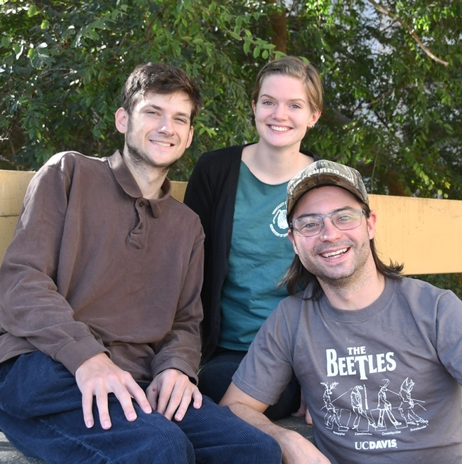 These three graduate students in the Phil Ward lab at UC Davis are among the members of the UC Berkeley-UC Davis Linnaean Games Team. From left are Zachary Griebenow, Jill Oberski and Brendon Boudinot. Boudinot, president of the UC Davis Entomology Graduate Student Association, was a member of both the UC Davis national championship teams in 2015 and 2016. (Photo by Kathy Keatley Garvey)