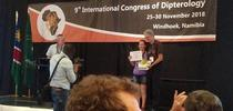 Professor Thomas Pape of the Natural History Museum of Denmark and chair of the Council for the International Congresses of Dipterology, presents the top student prize to Jessica Gillung. The next Congress takes place in 2022 in California for Bug Squad Blog