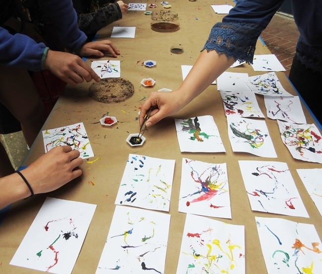 The UC Department of Entomology and Nematology offers maggot art at Briggs Hall during the annual UC Davis Picnic Day. This year's Picnic Day is set April 13. (Photo by Kathy Keatley Garvey)