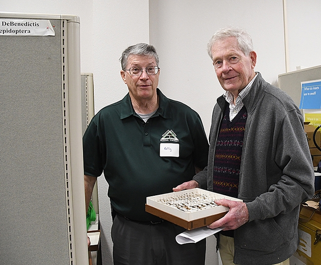 Kelly Richers (left) and Jerry Powell are key members of the Northern California Lepidopterists. (Photo by Kathy Keatley Garvey)