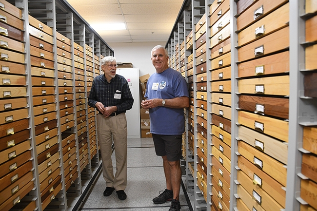 Bill Patterson (left), who holds a doctorate in entomology from UC Davis, and entomologist Jeff Smith, who curates the butterfly-moth section at the Bohart Museum of Entomology. (Photo by Kathy Keatley Garvey)