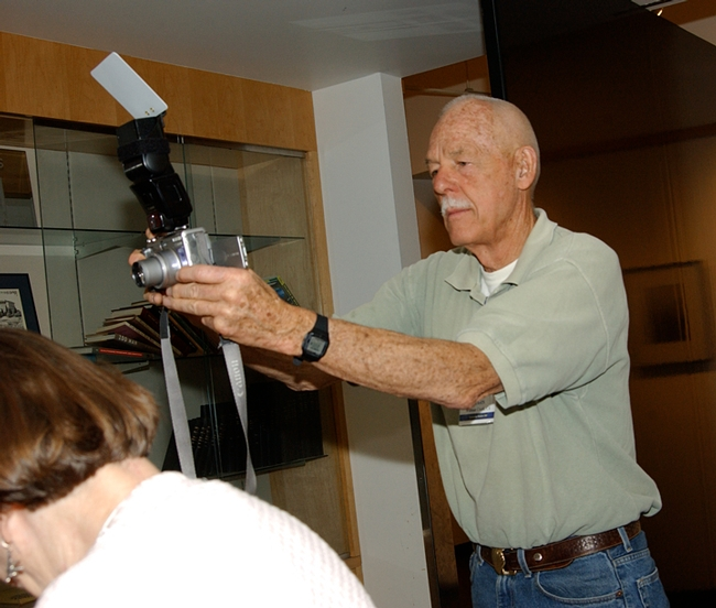 UC Davis entomology alum Will Crites takes a photo at the 2007 reunion. He is co-chairing the 2019 reunion. (Photo by Kathy Keatley Garvey)