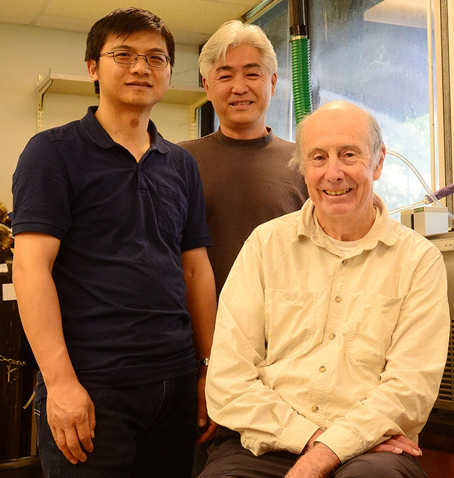 UC Davis researchers Jun Yang (right) and Sung Hee Hwang (center) with Bruce Hammock. (Photo by Kathy Keatley Garvey)